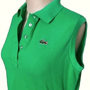 Lacoste tennis top with button v neck and collar